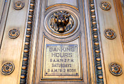 Elaborate Prints - Elaborate Bronze Door of Defunct Historic Bank Print by Gary Whitton