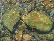 Riverbed Paintings - Elbow River Rocks 6  by Madeleine Arnett