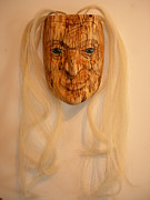 Wood Carving Sculpture Posters - Elder Woman Poster by Shane  Tweten