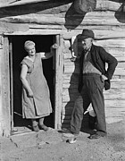 Log Homes Prints - Elderly Farmer Couple On Relief. Mr Print by Everett