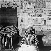Quilts Framed Prints - Elderly Former Slave In Her Sitting Framed Print by Everett