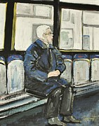 Quebec Streets Painting Posters - Elderly Lady on 107 Bus Montreal Poster by Reb Frost