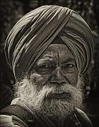 Robert Framed Prints - Elderly Sikh  Framed Print by Robert Ullmann