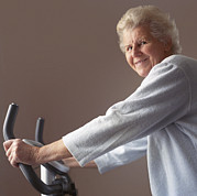 Sporting Equipment Framed Prints - Elderly Woman Exercising Framed Print by Cristina Pedrazzini