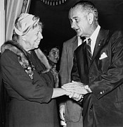 First Ladies Posters - Eleanor Roosevelt Shaking Hands Poster by Everett