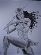 Superheros Drawings - Electra by Luis Carlos Alvarado