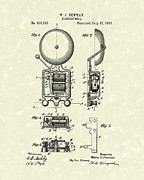 Bell Drawings - Electric Bell 1893 Patent Art by Prior Art Design