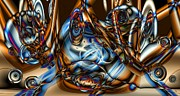 Merging Metal Prints - Electric Blue Metal Print by Ron Bissett
