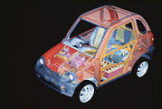 Graphic Artwork Framed Prints - Electric Car, Artwork Framed Print by Volker Steger