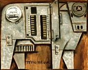 Industrial Paintings - Electric Cow by Tommervik