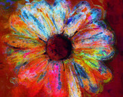 Daisy Art - Electric Daisy by Julie Lueders