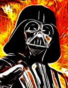 Lord Drawings Metal Prints - Electric Darth Vader Metal Print by Paul Van Scott