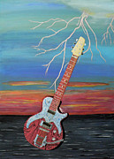Electric Guitar Painting Originals - Electric by Eric Kempson