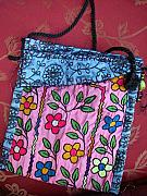 Embroidered Tapestries - Textiles - Electric Flowers  Nomadic Bag by Krisha Fairchild
