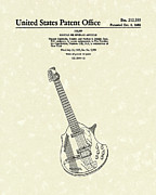 Music Drawings Metal Prints - Electric Guitar 1968 Patent Art  Metal Print by Prior Art Design