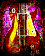 Rocker Digital Art Posters - Electric Guitar Abstract Poster by David G Paul