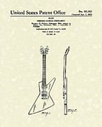 Antique Drawings - Electric Guitar McCarty Gibson I Patent Art  by Prior Art Design