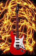 Electricity Framed Prints - Electric guitar with sparks Framed Print by Garry Gay