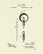 Edison Posters - Electric Lamp 1880 Patent Art Poster by Prior Art Design