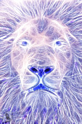 Wild Life Mixed Media Metal Prints - Electric Lion Metal Print by The DigArtisT