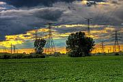 Powerlines Framed Prints - Electric Midwest Framed Print by Joshua Ball