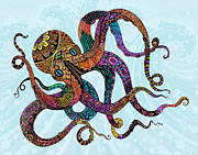 Patterns Drawings Prints - Electric Octopus Print by Tammy Wetzel