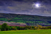 Lightning Bolts Prints - Electric Over The Valley Print by Emily Stauring