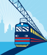 Electric Digital Art Posters - Electric passenger train Poster by Aloysius Patrimonio