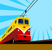 Electric Digital Art Posters - Electric Passenger Train Retro Poster by Aloysius Patrimonio