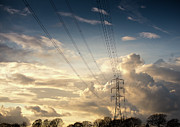 Sunset Photography Posters - Electric Pylon Poster by Peter Chadwick LRPS