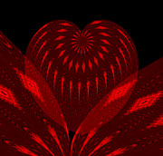 Electric Creation Posters - Electric Red Heart 2 Poster by Anne Kitzman