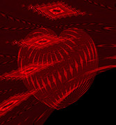 Electric Creation Posters - Electric Red Heart 3 Poster by Anne Kitzman