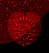 Electric Creation Posters - Electric Red Heart Poster by Anne Kitzman