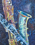 Saxaphone Prints - Electric Reeds Print by Jenny Armitage