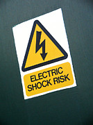 Shock Framed Prints - Electric Shock Warning Sign Framed Print by Sheila Terry