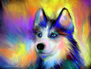 Cute Puppy Prints - Electric Siberian Husky dog painting Print by Svetlana Novikova