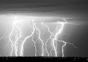 Lightning Bolts Photo Prints - Electric Skies in Black and White Print by James Bo Insogna