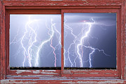 Storms Photos - Electric Skies Red Barn Picture Window Frame Photo Art  by James Bo Insogna