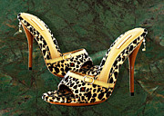 Stilettos Paintings - Electric Slide in Leopard by Elaine Plesser