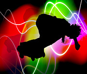 Sports Digital Art - Electric Spectrum Skater by Elaine Plesser