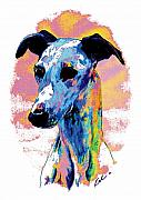 Dogs Digital Art Prints - Electric Whippet Print by Kathleen Sepulveda