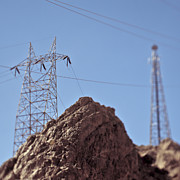 Arid Life Prints - Electrical lines in the Desert Print by Eddy Joaquim