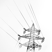 Pylon Framed Prints - Electrical Tower Framed Print by Albert Mollon