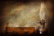 Oil Lamp Acrylic Prints - Electrician - Advancements in lighting  Acrylic Print by Mike Savad