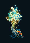 Light Digital Art Prints - ElectriciTree Print by Budi Satria Kwan