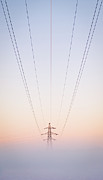 Pylon Framed Prints - Electricity Power Pylon In Mist Framed Print by Terry Donnelly ARPS