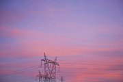 Powerline Posters - Electricity Pylon at Sunset Poster by Dave & Les Jacobs