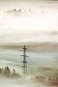 Temperature Inversion Photo Prints - Electricity Pylon In Fog Print by Duncan Shaw
