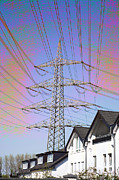 Electric Pylon Framed Prints - Electricity Pylon Framed Print by Pasieka