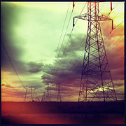 Pylon Framed Prints - Electricity Pylons Framed Print by Mardis Coers